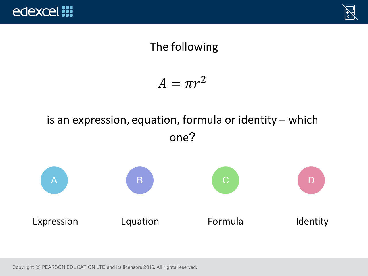 Expression Equation Formula Identity Gcse Maths