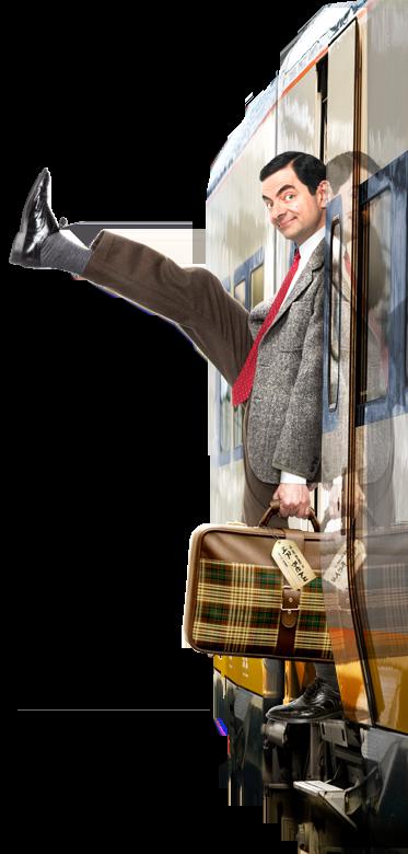 Mr Bean stepping off the train.