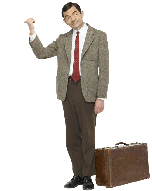 Mr Bean with his suitcase.