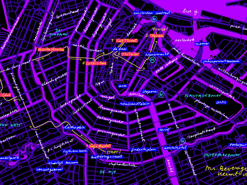 plattegrond map amsterdam cocktail week hotspot