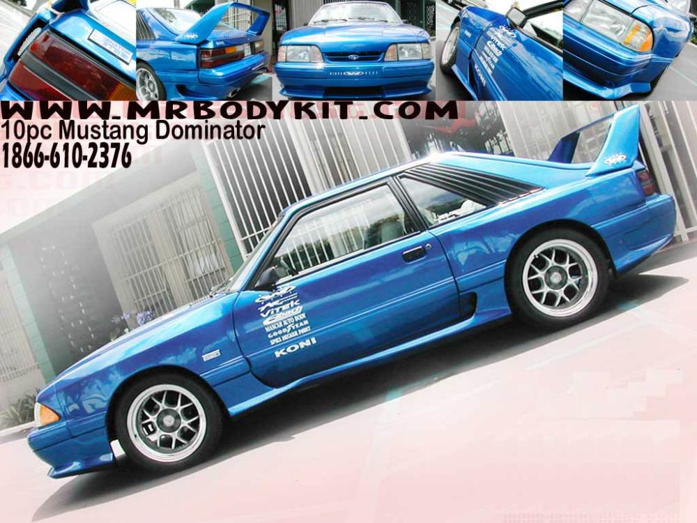 medium resolution of 87 93 mustang dominator 10pc body kit fits to lx bumpers only larger image