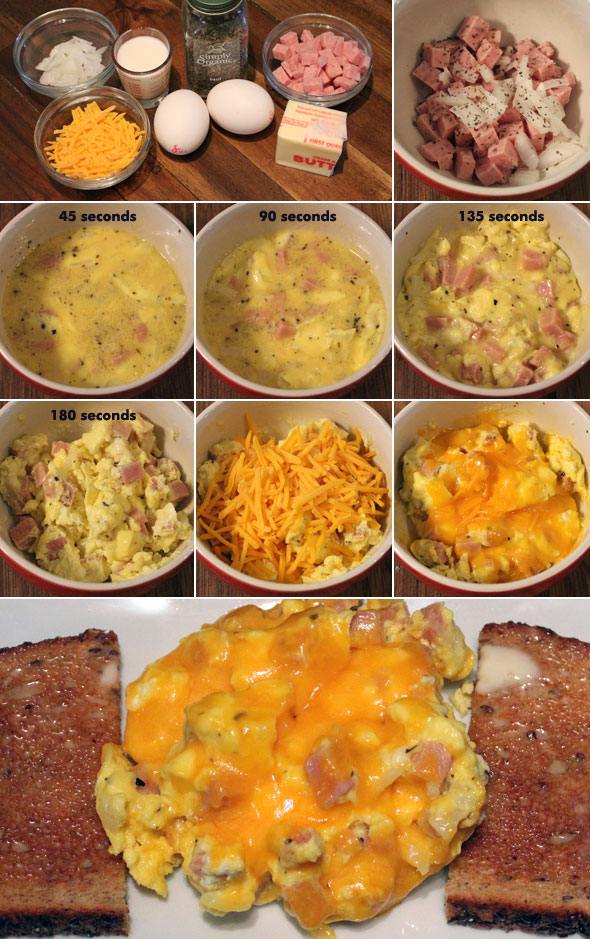 scrambled eggs and ham microwave