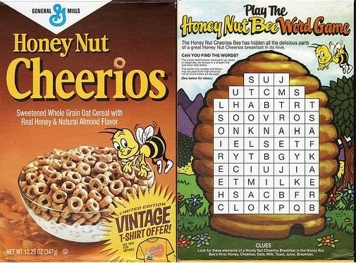 Back Cereal Word Search