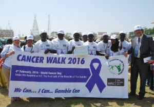 Team from MRC Unit The Gambia led by Director Professor Umberto D'Alessandro and Sally Louis Smith, MRC, HR Director.