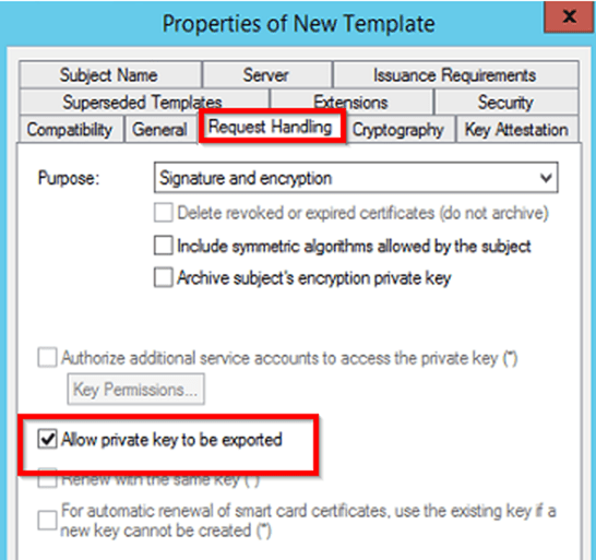 Create a certificate template from a server 2012 r2 ca mrchiyo and confirm that the minimum key size is at least 2048 this is the default in server 2012 r2 leave the default cryptography settings as the defaults yadclub