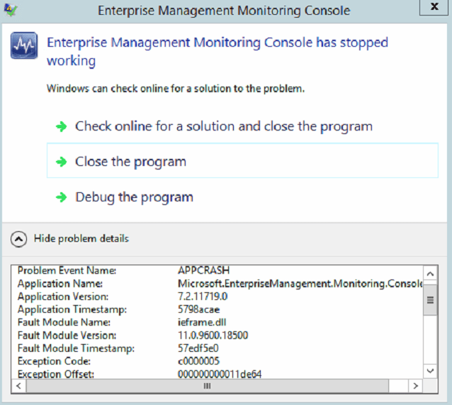 October 2016 Windows Updates and SCOM 2012 R2/ 2016 Console Crash