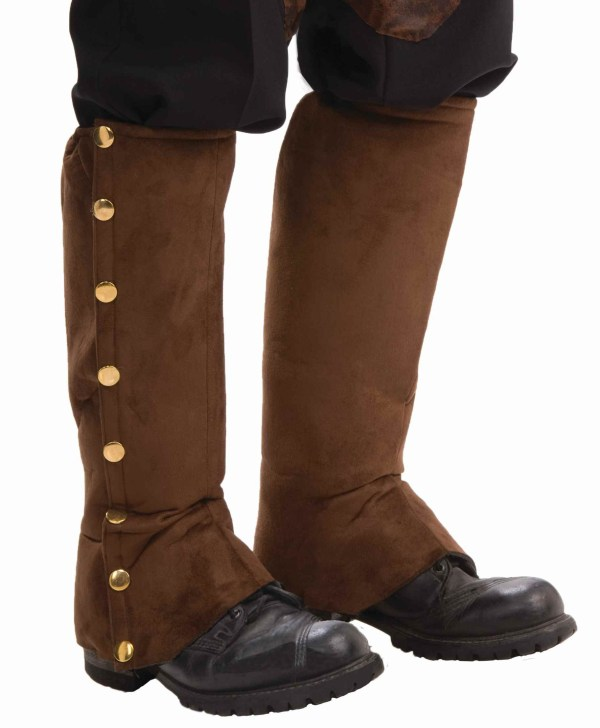 Steampunk Brown Suede Boot Covers - . Costumes