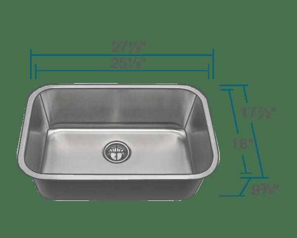 2718 single bowl undermount stainless steel sink