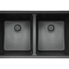4 Hole Kitchen Faucets Farm House Sink 802-black Double Equal Bowl Trugranite