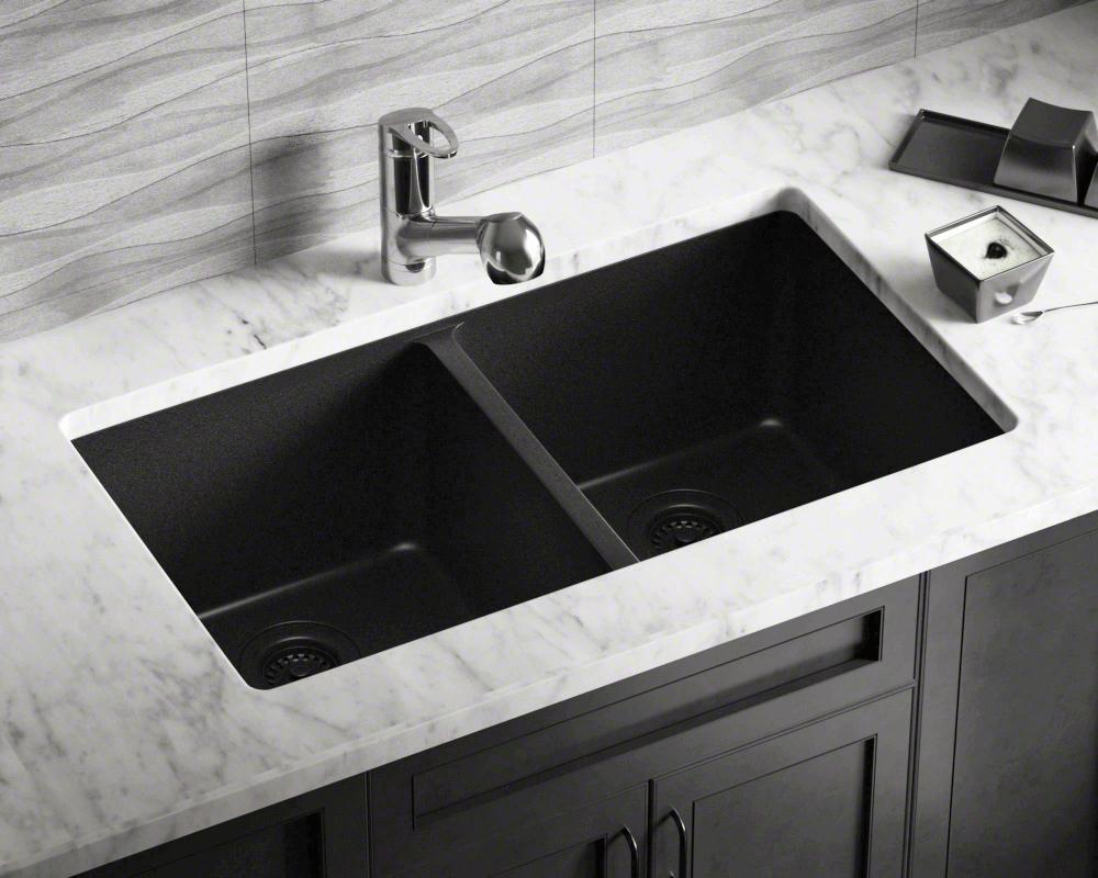 antique bronze kitchen faucet non slip shoes 802-black double equal bowl trugranite sink