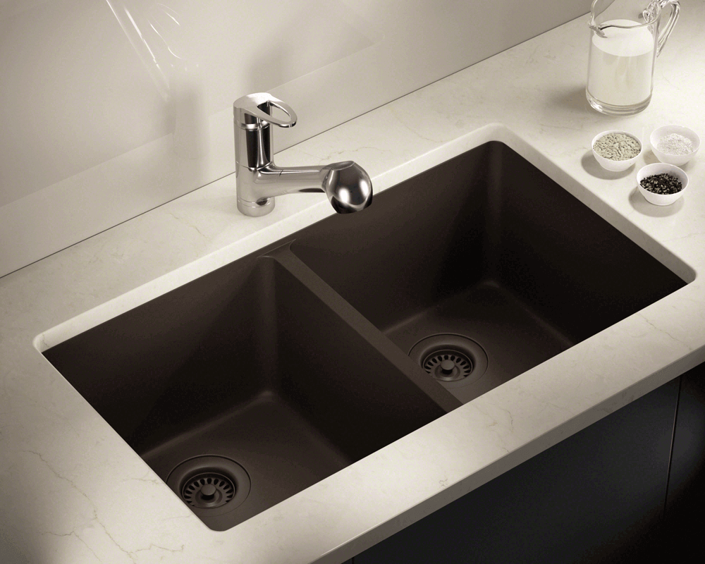 802Mocha Double Equal Bowl TruGranite Kitchen Sink