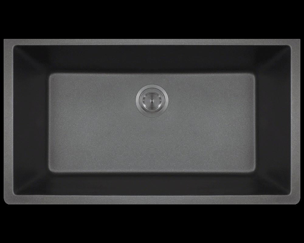 top mount kitchen sink brushed nickel faucet 848-black large single bowl undermount trugranite