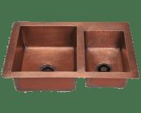 901 Double Offset Bowl Copper Sink