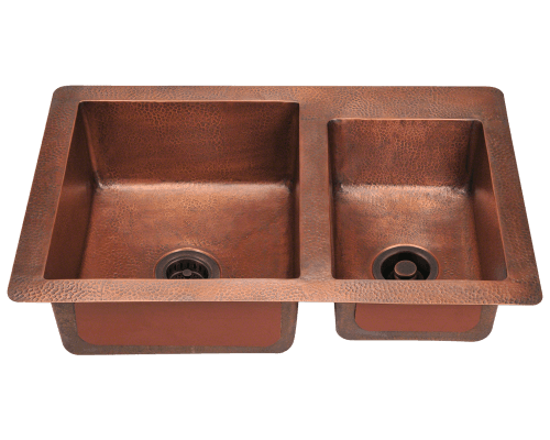 copper kitchen sink vintage knobs and pulls sinks mr direct 901 offset double bowl