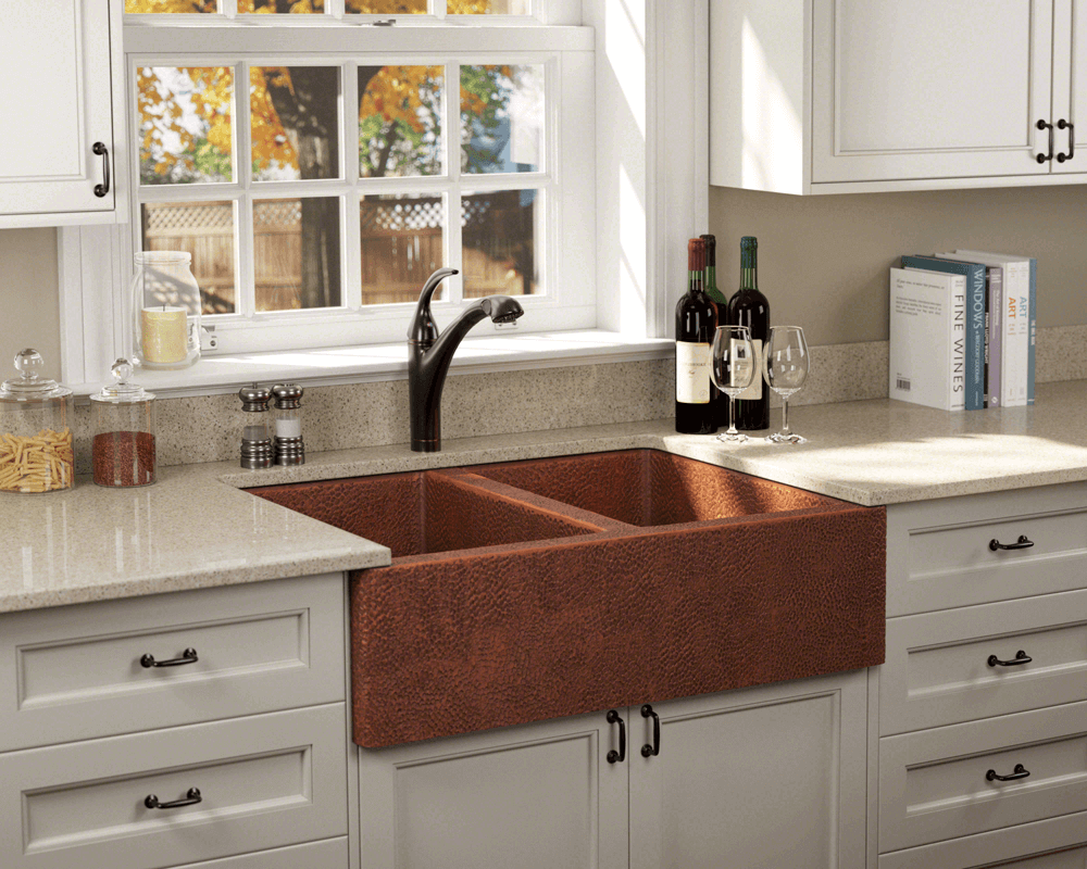 912 equal double bowl copper apron sink