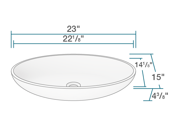 ab110 polystone oval vessel sink