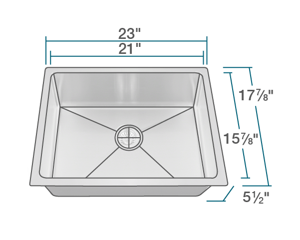 ada1823 slbl stainless steel single bowl 3 4 radius ada kitchen sink with black sinklink