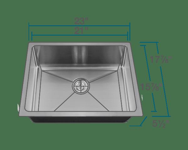 ada1823 stainless steel single bowl 3 4 radius kitchen sink