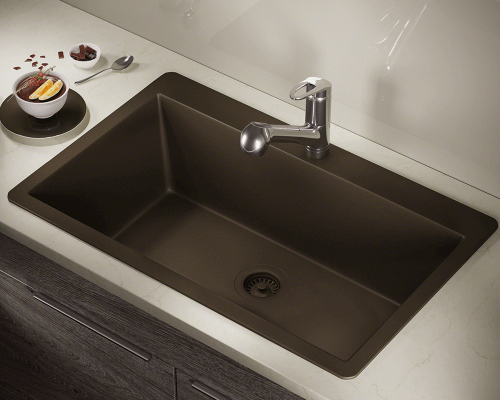 T848Mocha Large Single Bowl Topmount TruGranite Sink