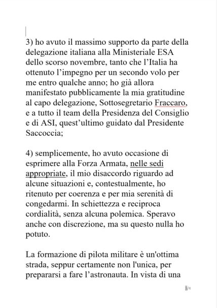 dichiarazioniSamantha3 320x453 - Samantha Cristoforetti, addio Aeronautica Militare