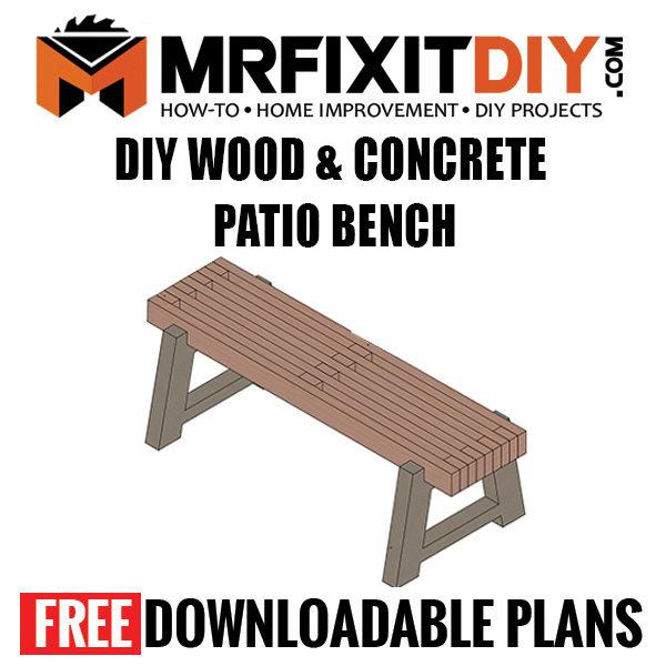 diy wood concrete outdoor bench
