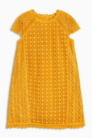 Next girls Ochre Lace Shift Dress (deleted 33231db628fe2feb25e02894bcf47f12)