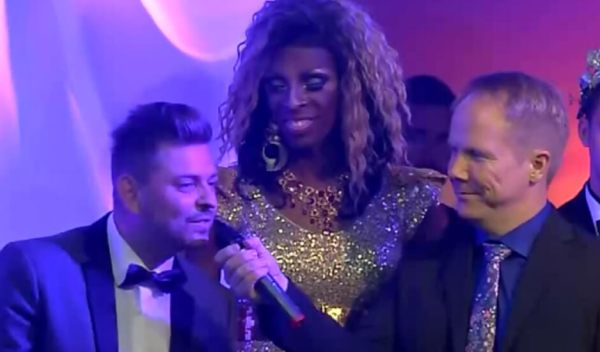 Dieter Sapper accepts the challenge of becoming the executive co-producer of Mr Gay Europe 2014 from MGE president Tore Aasheim at Mr Gay Europe 2013 in Prague.