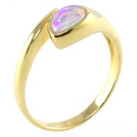 18ct yellow gold single stone pear shape opal ring.