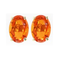 9ct yellow gold 7x5mm oval fire opal stud earrings ...