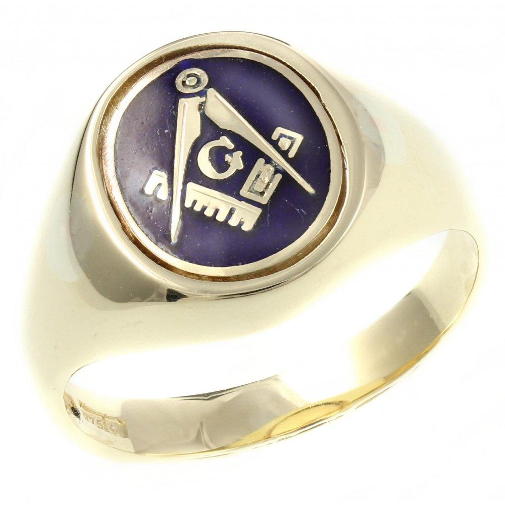 9ct yellow gold oval masonic swivel signet ring.