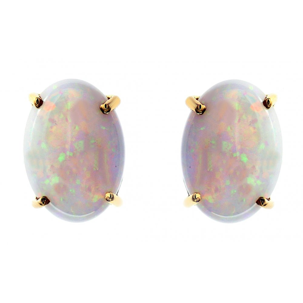 14ct yellow gold 7.01ct oval natural opal stud earrings