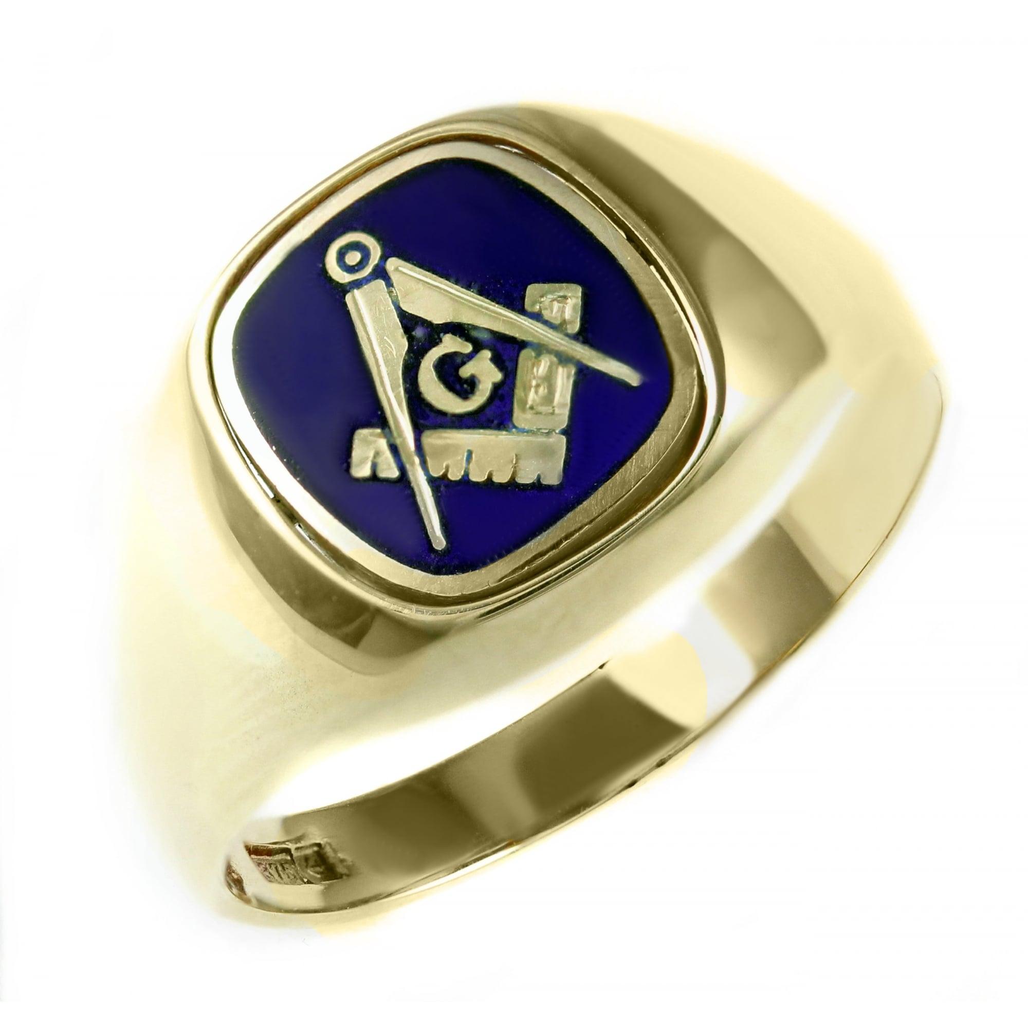 9ct yellow gold cushion masonic swivel signet ring. (T