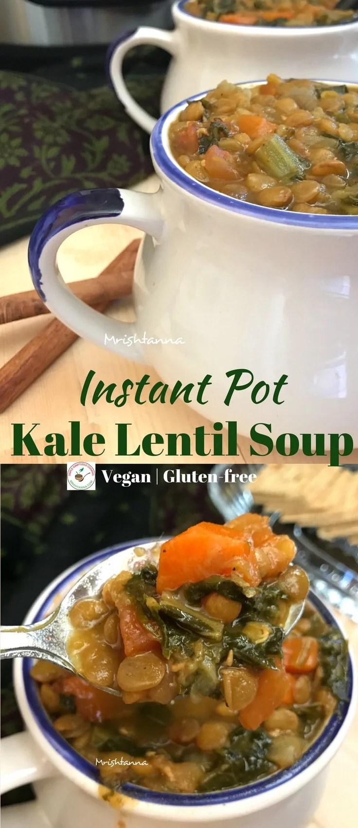 Instant Pot Kale Lentil Soup