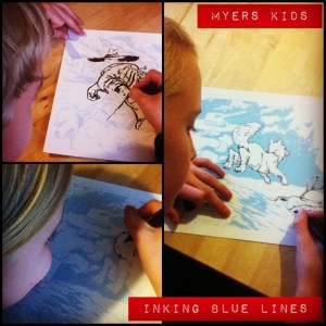 Training__em_early._Three_of_my_kids_inking_my_art._I_turned_my_inks_to_blue_lines_then_printed_them_out.__share