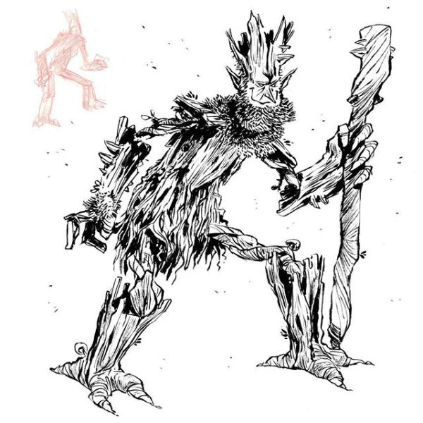 Tree elf character design or entgroot. http://rndm.us/jms # # Drawn using @pentelofamerica # #