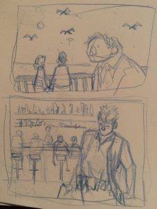 Doodle's using a composition from a movie frame, but using my concepts.