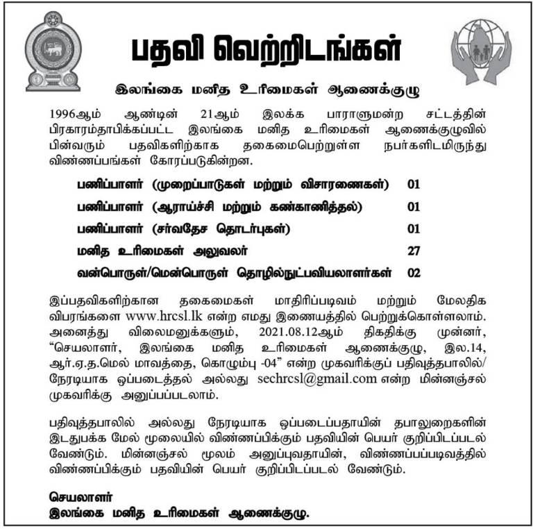 Human Rights Commissions of Sri Lanka Vacancies 2021 -2