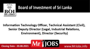Board of Investment of Sri Lanka Vacancies
