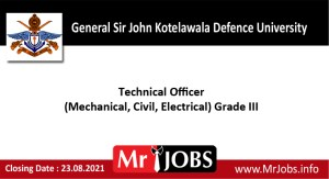 General Sir John Kotelawala Defence University Vacancies