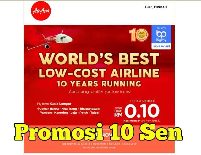 Harga Tiket Promosi Tahun Ke 10 AirAsia Cuma 10 Sen Sahaja