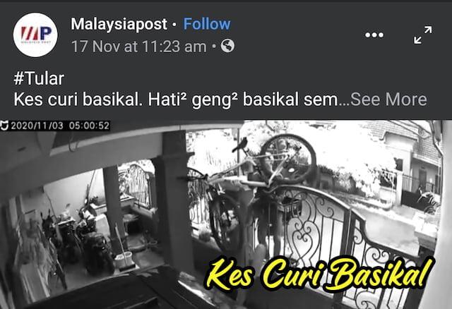 Kes Curi Basikal Semakin Menjadi Jadi Di Malaysia