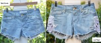 How to DIY Fashion free denim shorts with lace inserts
