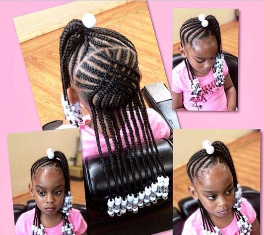 Braided Hairstyle With Cool Design And Side Pony