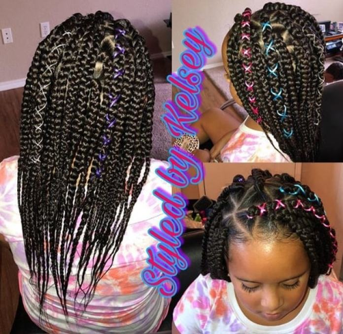 Intricate Braided Hairstyle With Thick Braids