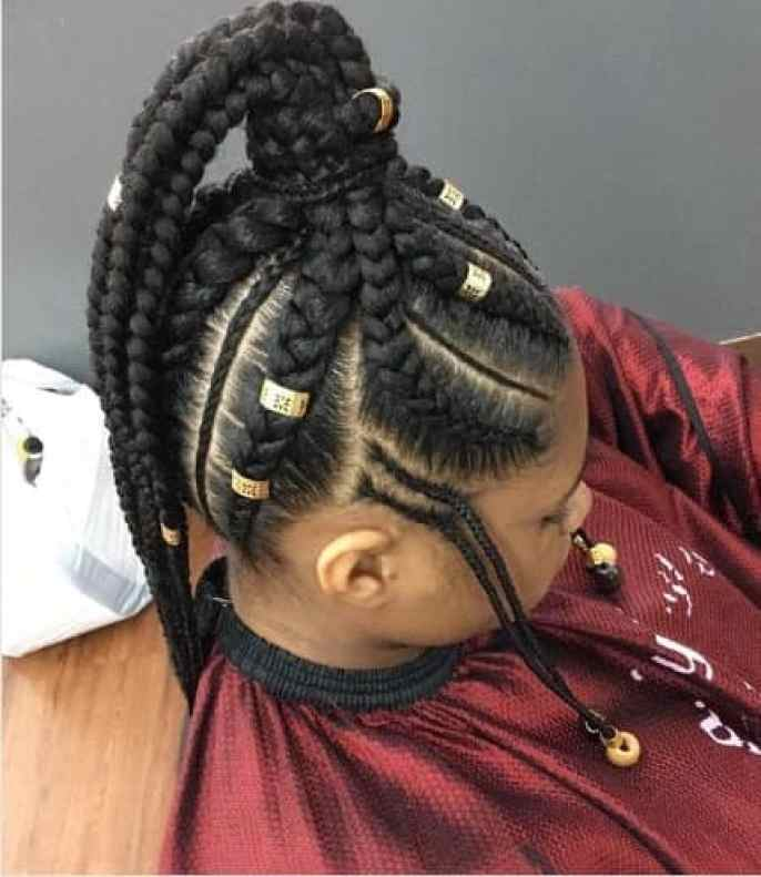 Thick Braided Top Knot With Long Ponytail
