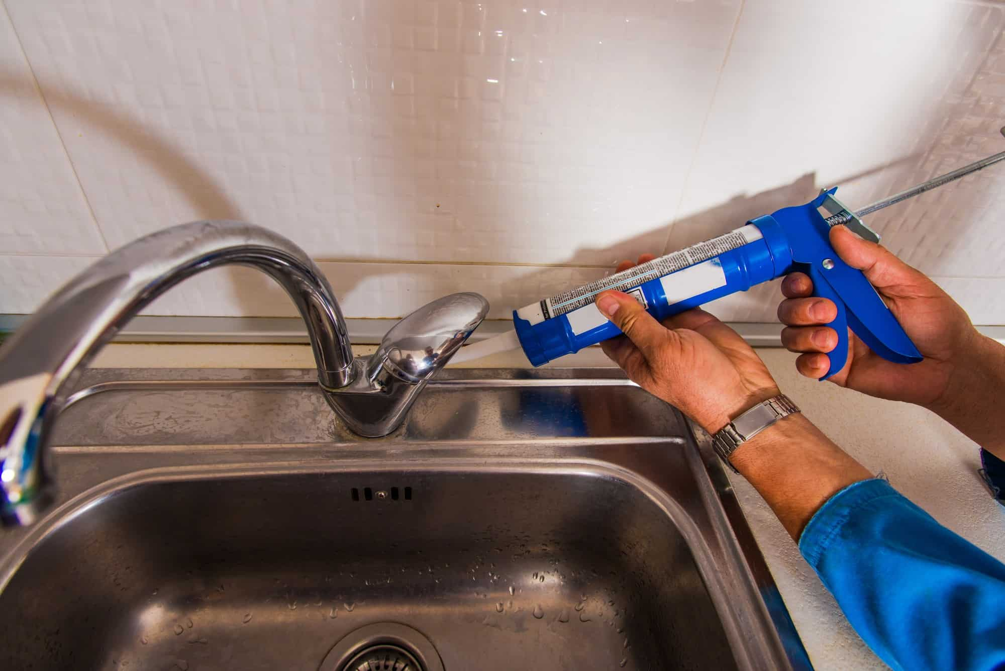 how to seal kitchen faucet base mr
