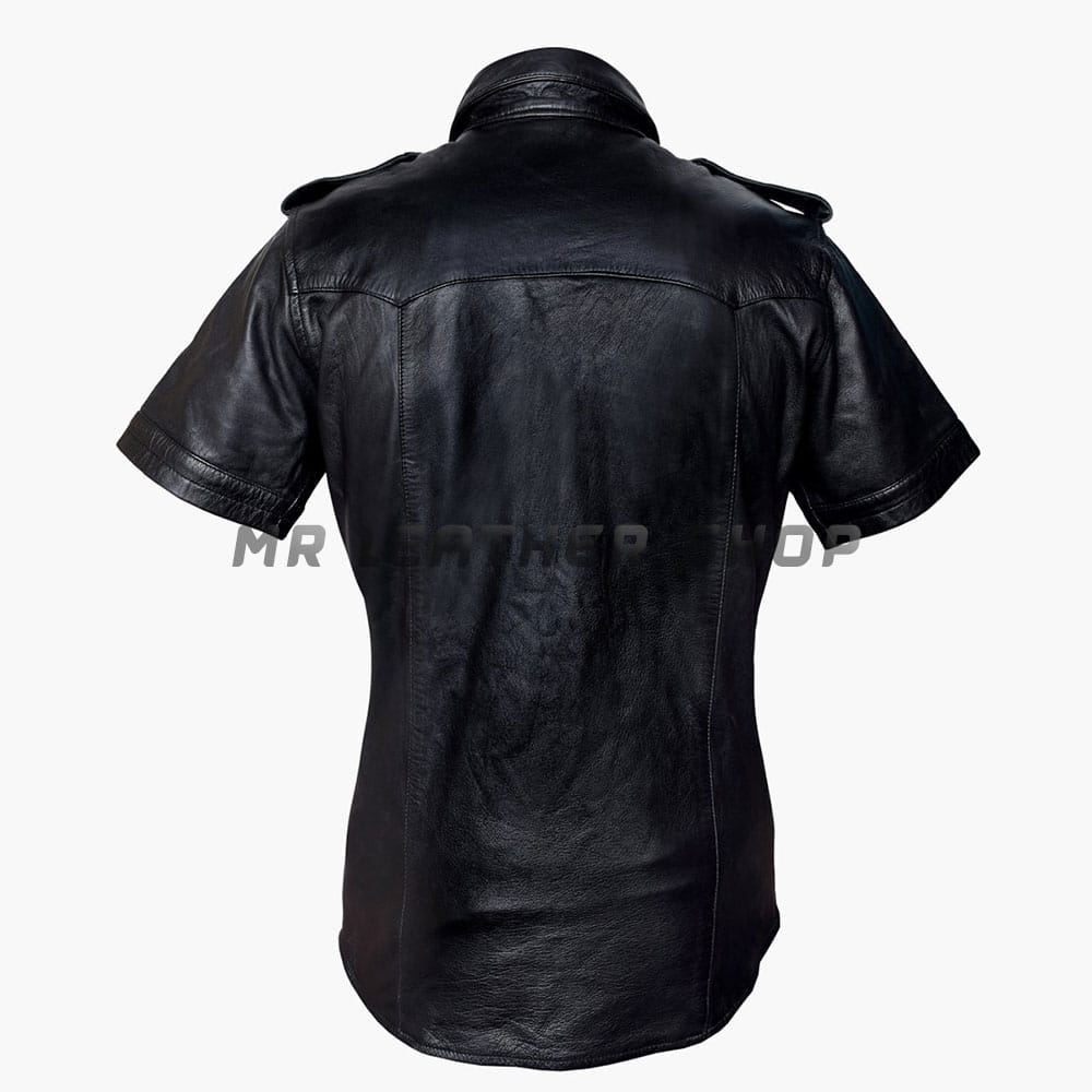 Leather Button Up Shirt Mens 01