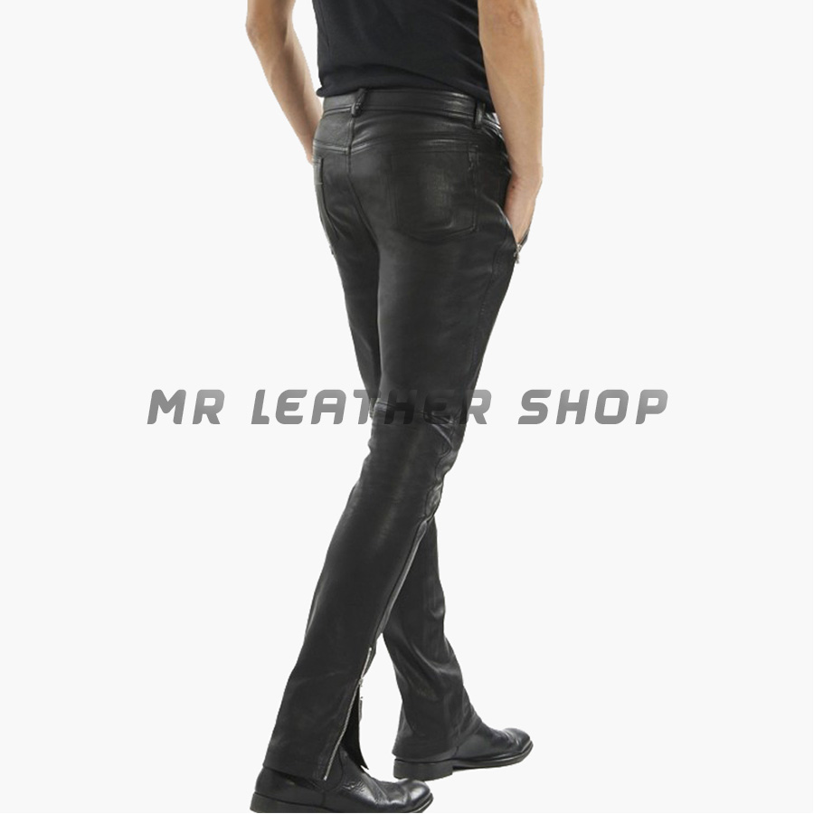 Mens Black Leather Jeans 01