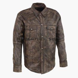Mens Long Sleeve Leather Shirt