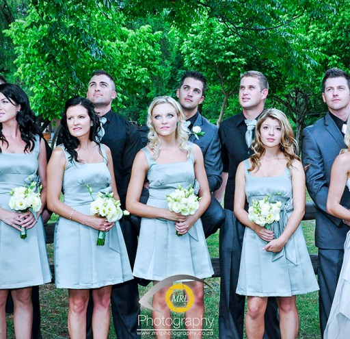 Bride & Groom with bridesmaids and groomsman